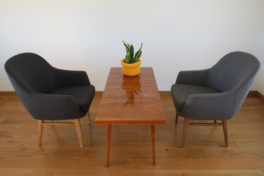 Danish armchairs. Wool material.