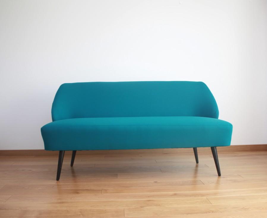 Refurbised sofa by lithuanian designer B.Adomoniene. Turquoise color.