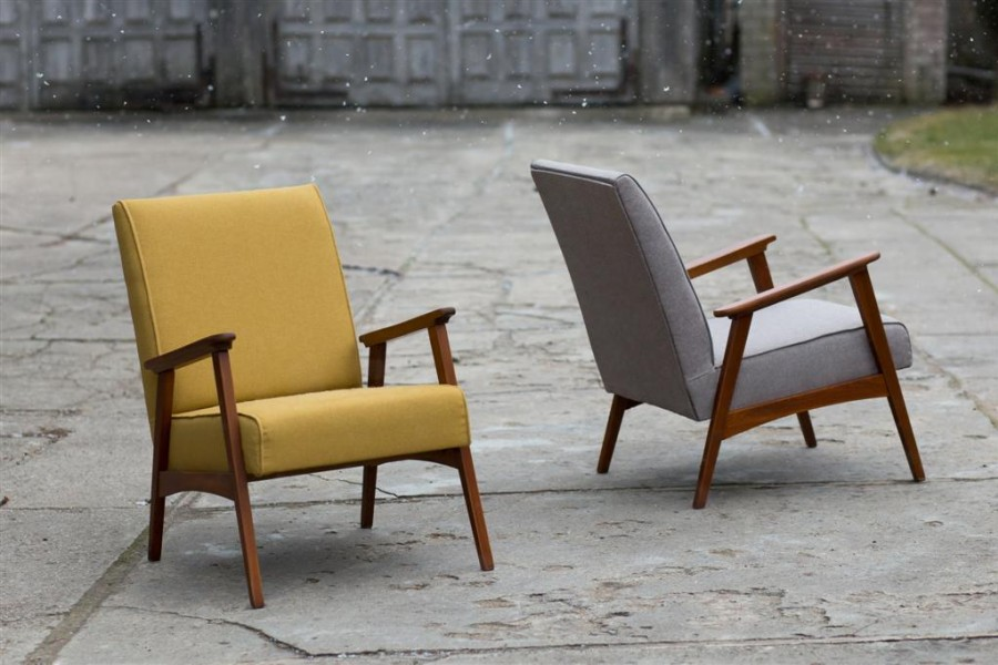 Armchairs - mustard and anthracite