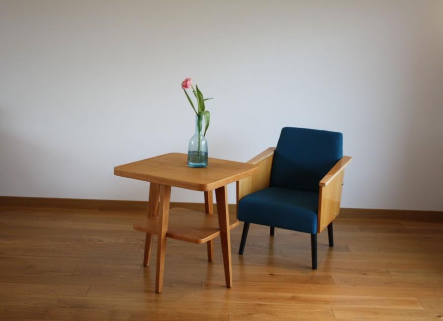 Comfortable blue armchair